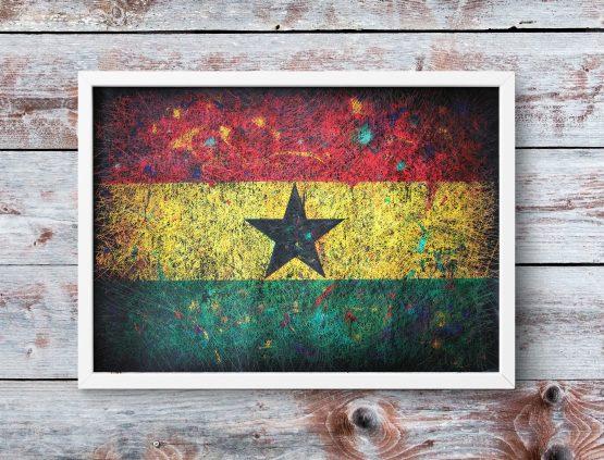 Hand painted Flag of Ghana