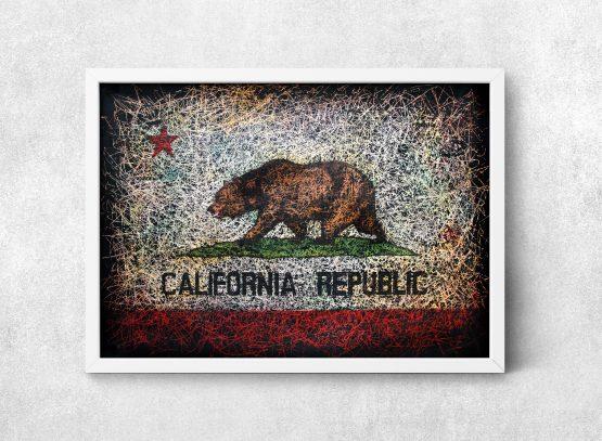 Hand painted Flag of California Republic