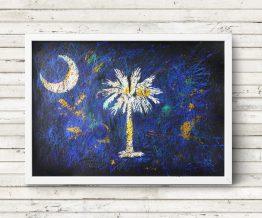 Hand painted Flag of South Carolina