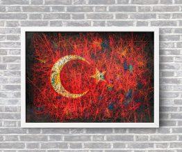 Hand painted Flag of Turkey
